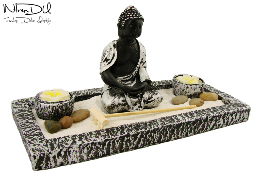 zen garten inkl buddha statue kerzen und viel zubeh r feng shui buddhismus deko ebay. Black Bedroom Furniture Sets. Home Design Ideas