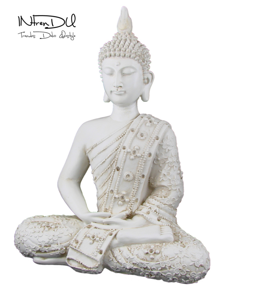 buddha figur statue vintage look wei 28cm feng shui deko asien 20151 ebay. Black Bedroom Furniture Sets. Home Design Ideas