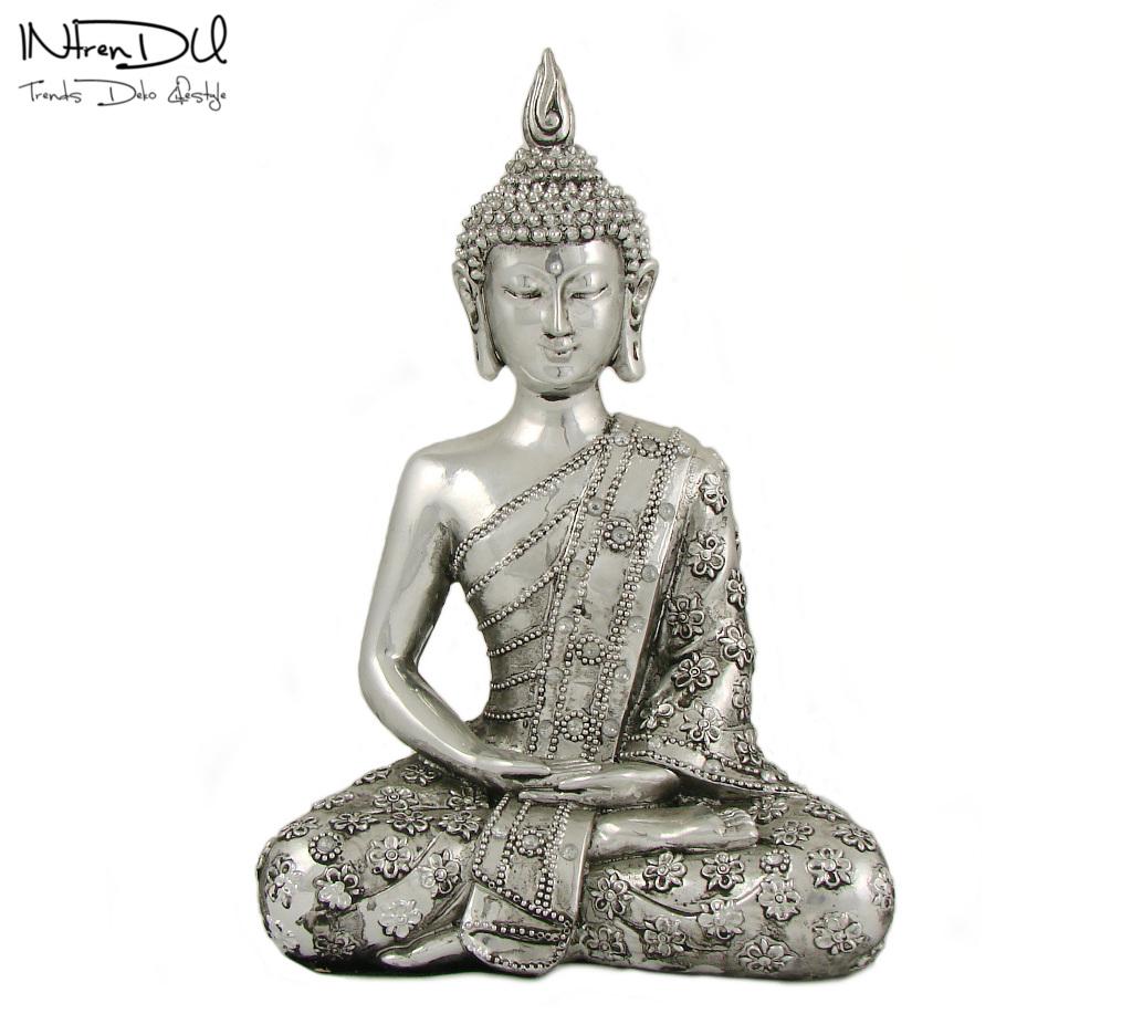 buddha figur silber 23cm skulpturen deko statue zen. Black Bedroom Furniture Sets. Home Design Ideas