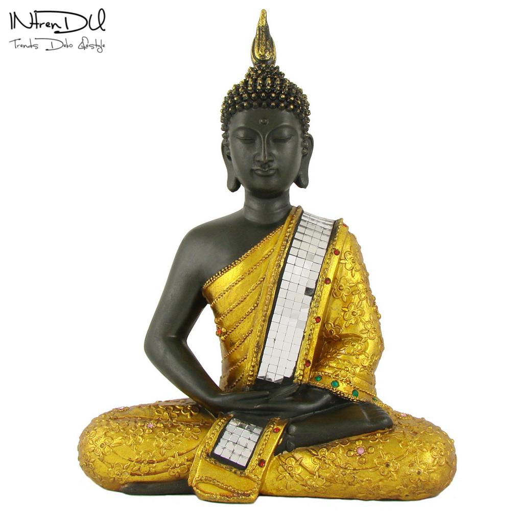 Buddha figur gold 30cm skulpturen deko statue zen ebay for Buddha figur