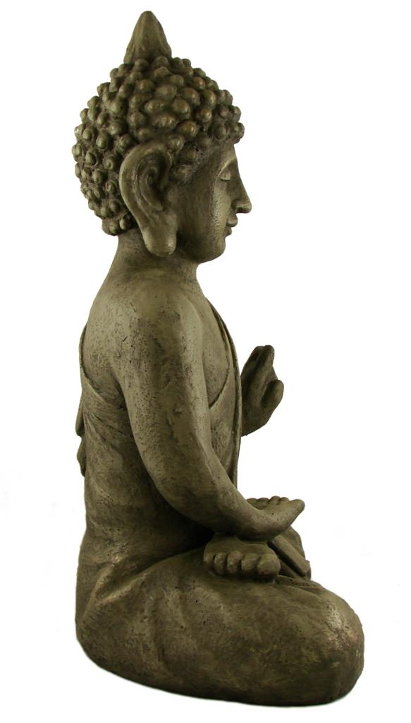 Stein buddha massiv antik steinfigur skulptur feng shui for Steinfigur buddha garten