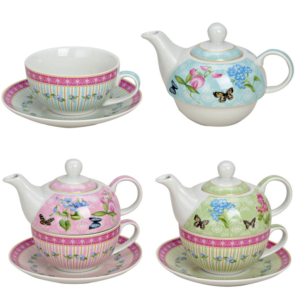 tea for one set porzellan teekanne mit tasse teeset schmetterling in geschenkbox ebay. Black Bedroom Furniture Sets. Home Design Ideas