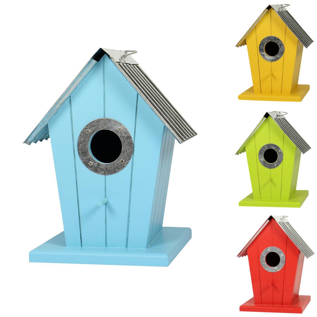 vogelhaus bunt aus holz mit aludach nistkasten liebesnest. Black Bedroom Furniture Sets. Home Design Ideas