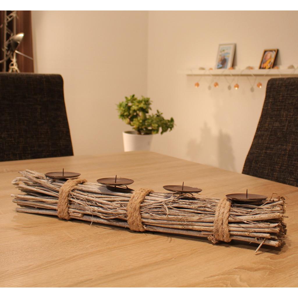 adventskranz holz lang kerzenhalter mit dorn kerzenst nder weihnachtsdeko ebay. Black Bedroom Furniture Sets. Home Design Ideas