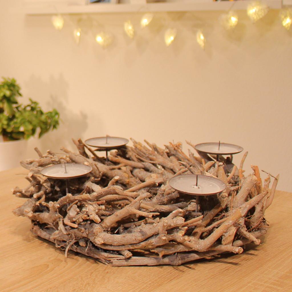 adventskranz holz rund 38cm advent kerzenst nder mit dorn weihnachtsdeko wurzel ebay. Black Bedroom Furniture Sets. Home Design Ideas
