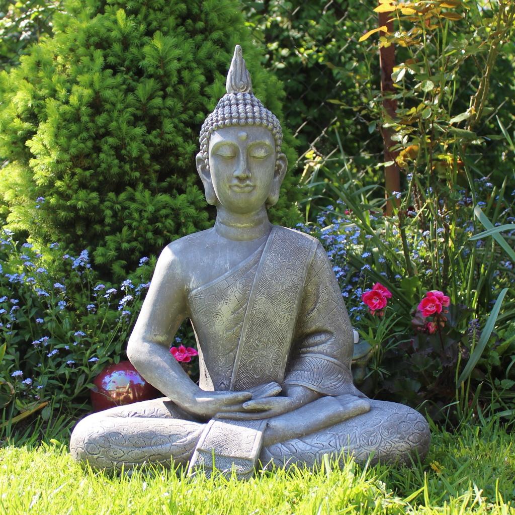 buddha statue gro 65cm sitzend deko figur f r wohnzimmer oder garten ebay. Black Bedroom Furniture Sets. Home Design Ideas
