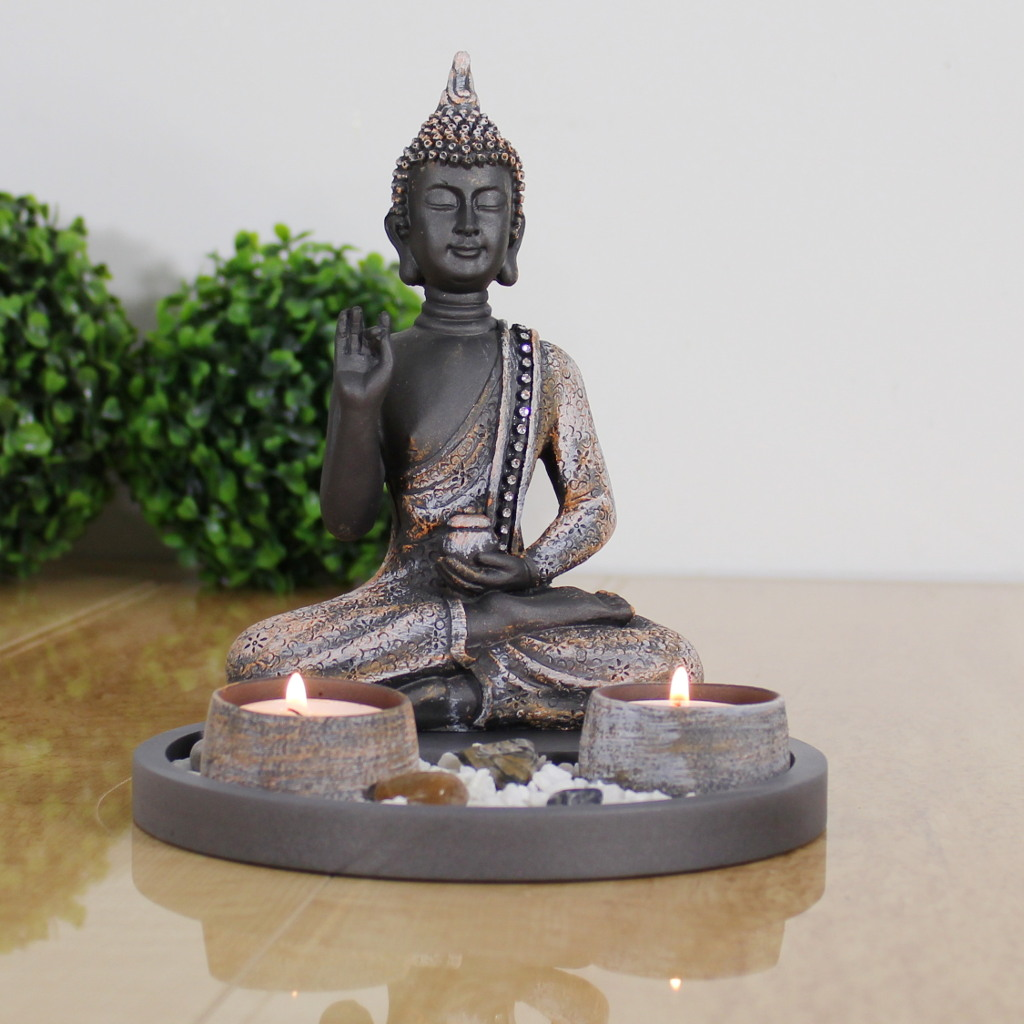 buddha sitzend mit teelicht 22cm deko statue f r. Black Bedroom Furniture Sets. Home Design Ideas
