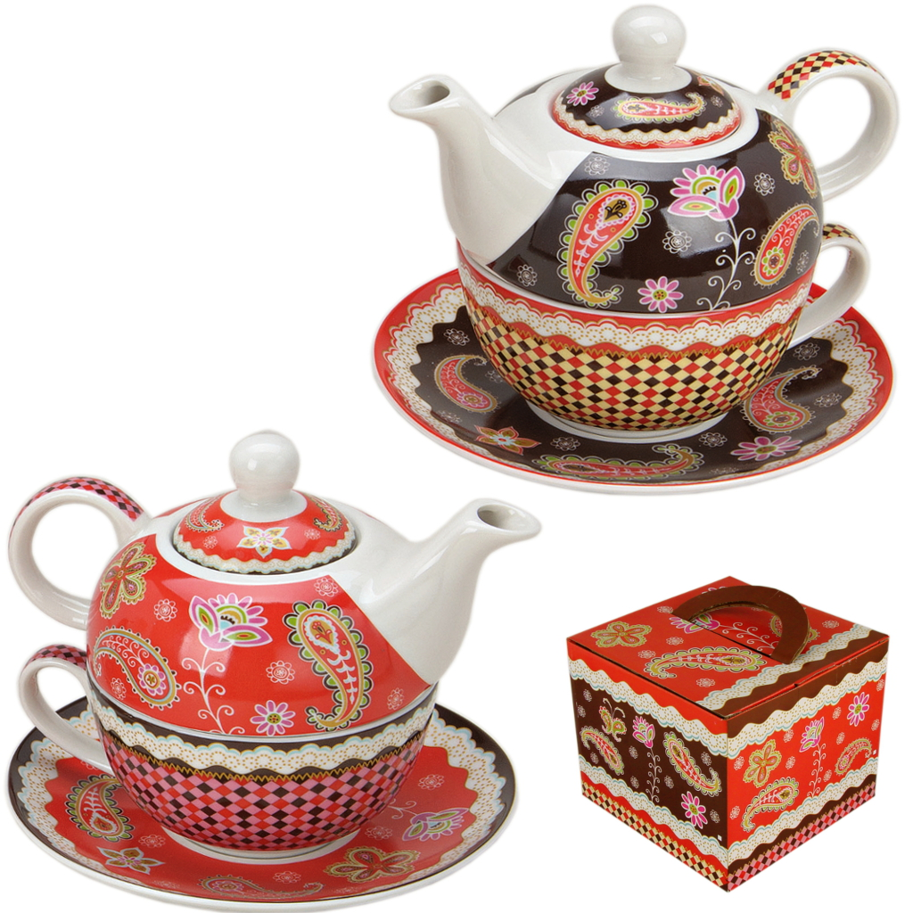 tea for one set porzellan teekanne mit tasse teeset paisley in geschenkbox ebay. Black Bedroom Furniture Sets. Home Design Ideas