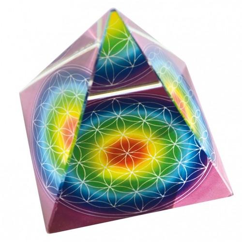 pyramide blume des lebens bunt neu glas regenbogen briefbeschwerer feng shui ebay. Black Bedroom Furniture Sets. Home Design Ideas