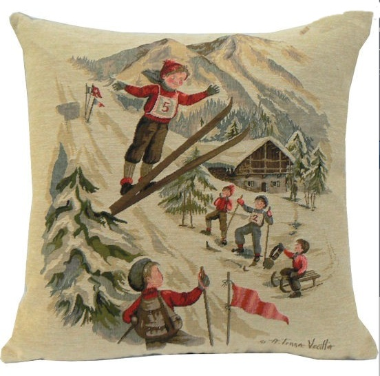 gobelin kissen skispringen nostalgie neu dekokissen 45 x 45 cm vintage ski ebay. Black Bedroom Furniture Sets. Home Design Ideas