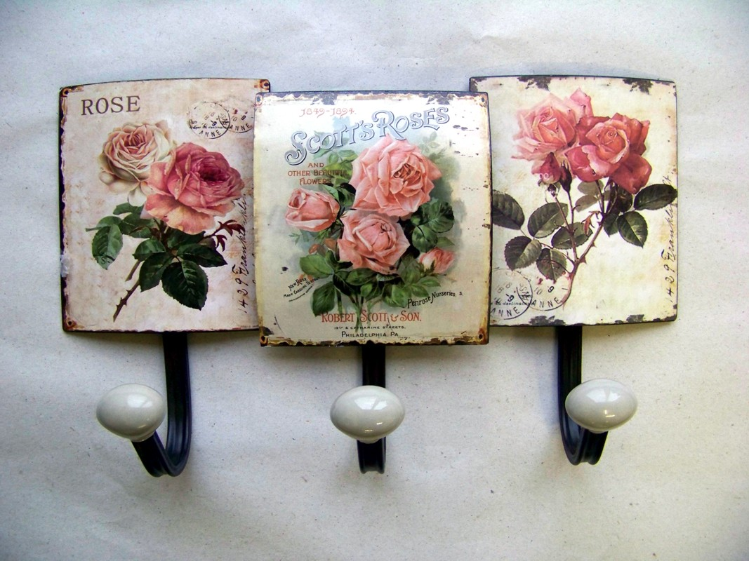 nostalgie wandhaken rosen neu garderobe landhausstil. Black Bedroom Furniture Sets. Home Design Ideas