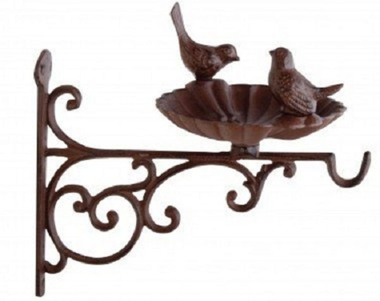 Vogeltränke Futterschale Gusseisen NEU Vogelbad Blumenampel-Haken | eBay