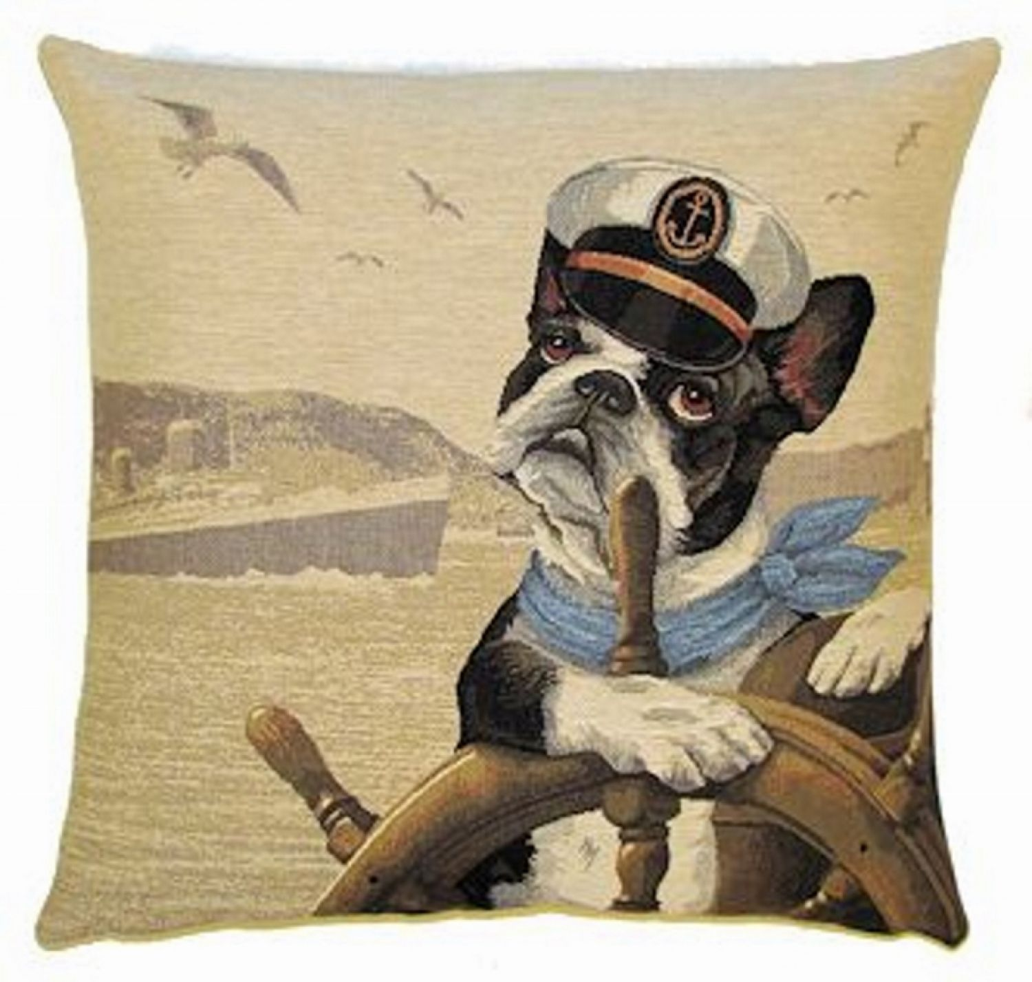 gobelin kissen boston terrier ahoi neu dekokissen incl f llung hund maritim ebay. Black Bedroom Furniture Sets. Home Design Ideas