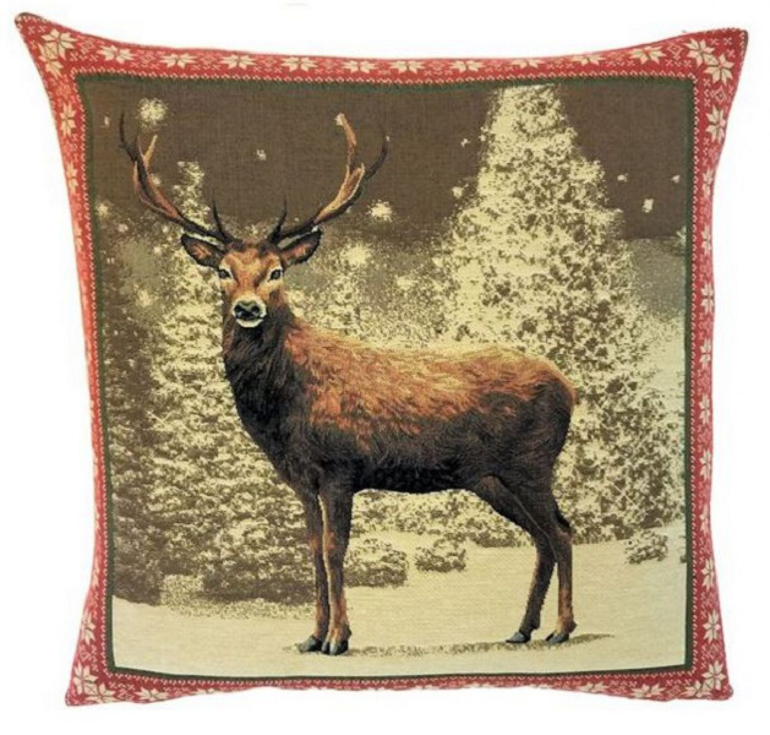gobelin kissen winter hirsch incl f llung neu weihnachtsdeko landhausstil deer ebay. Black Bedroom Furniture Sets. Home Design Ideas