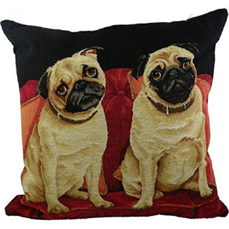 gobelin kissen mops neu dekokissen pug hunde sofakissen 45 x 45 cm ebay. Black Bedroom Furniture Sets. Home Design Ideas