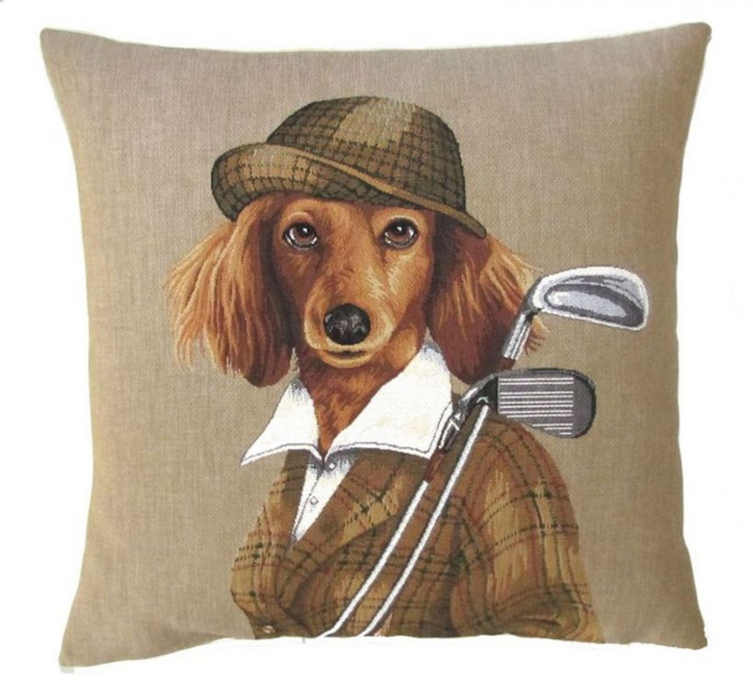 gobelin kissen hund spaniel golf neu dekokissen cocker landhausstil ebay. Black Bedroom Furniture Sets. Home Design Ideas