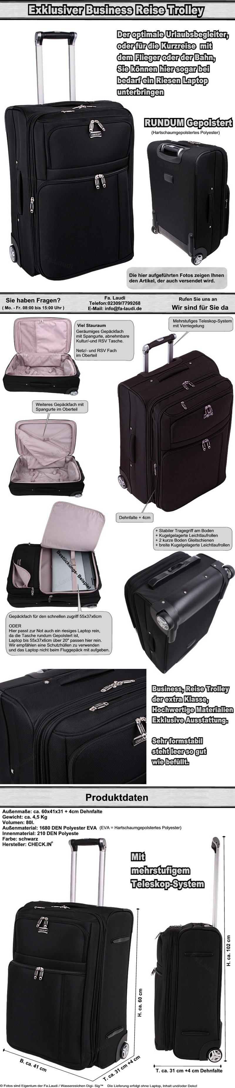 exklusiver reise trolley koffer tasche auch business laptop tauglich ber 20 ebay. Black Bedroom Furniture Sets. Home Design Ideas