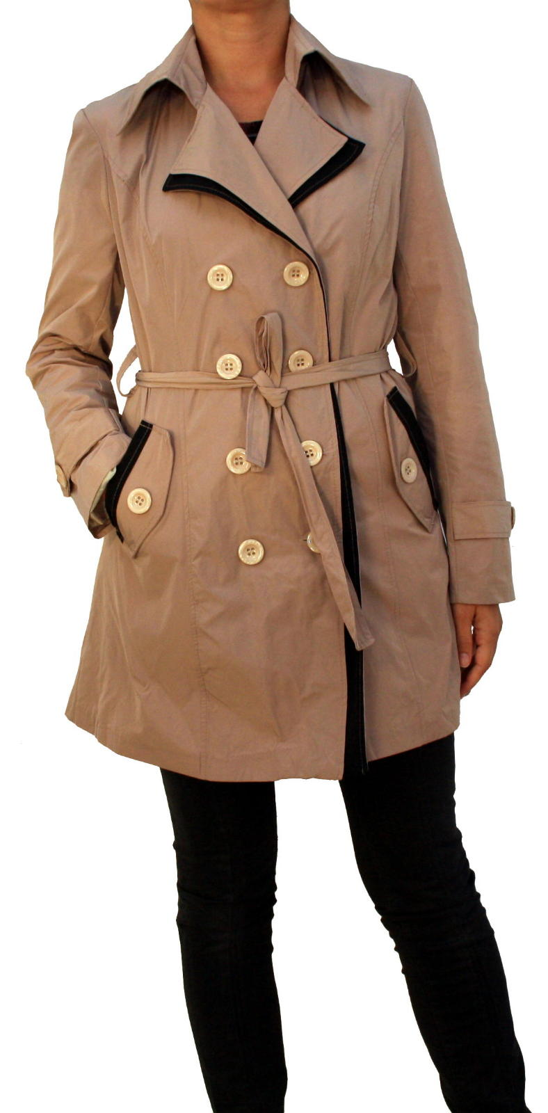 damen trenchcoat jacke mantel s m l xl g rtel zweireihig beige braun schwarz ebay. Black Bedroom Furniture Sets. Home Design Ideas