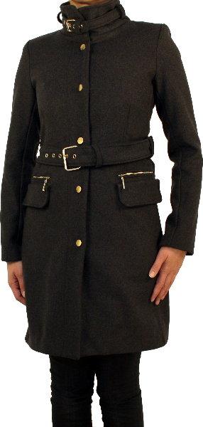 saxx damen winterjacke mantel wolle stehkragen gurt schwarz grau. Black Bedroom Furniture Sets. Home Design Ideas