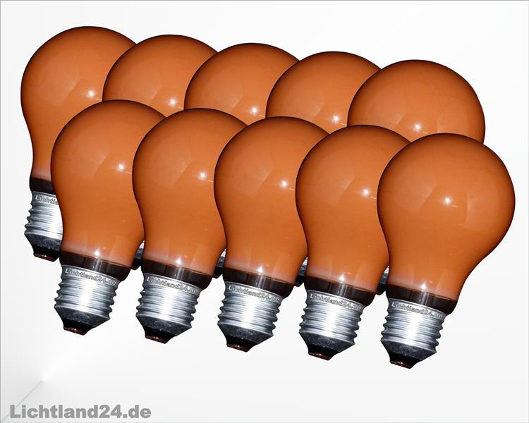 e27 10 x farbige gl hbirnen 60 watt orange bunte gl hlampen 60w ebay. Black Bedroom Furniture Sets. Home Design Ideas