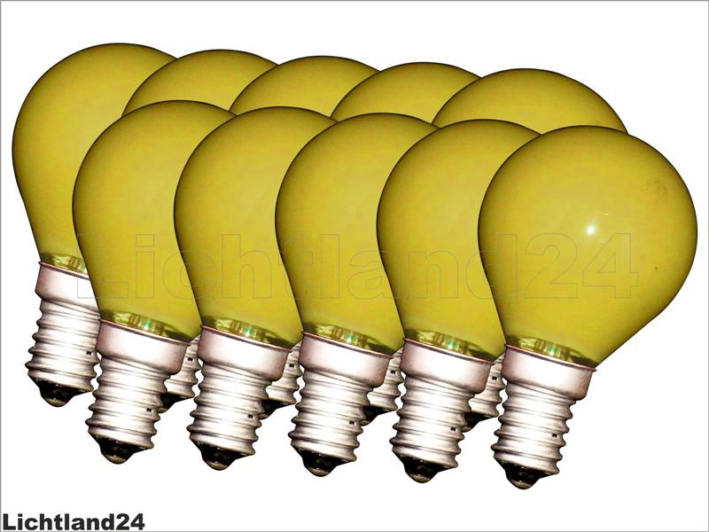 e14 10 x farbige qual tropfen lampe 15 watt gelb bunte gl hbirnen 15w ebay. Black Bedroom Furniture Sets. Home Design Ideas