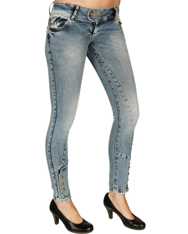 cipo baxx damen gold button jeans hose pants blau cbw 0524 ebay. Black Bedroom Furniture Sets. Home Design Ideas
