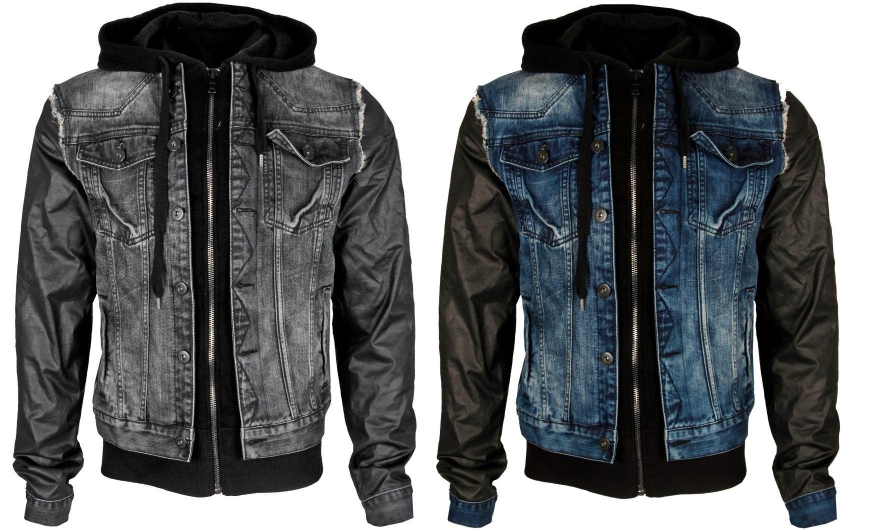 cipo baxx herren denimation jacke kunst lederjacke jacket jeans ebay. Black Bedroom Furniture Sets. Home Design Ideas