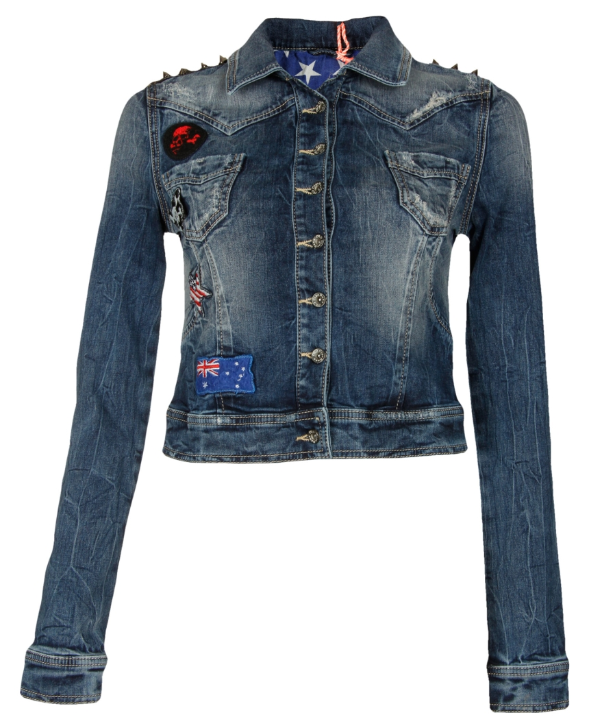 cipo baxx damen jeans jacke jeansjacke mit nieten patches denim jacket s ebay. Black Bedroom Furniture Sets. Home Design Ideas