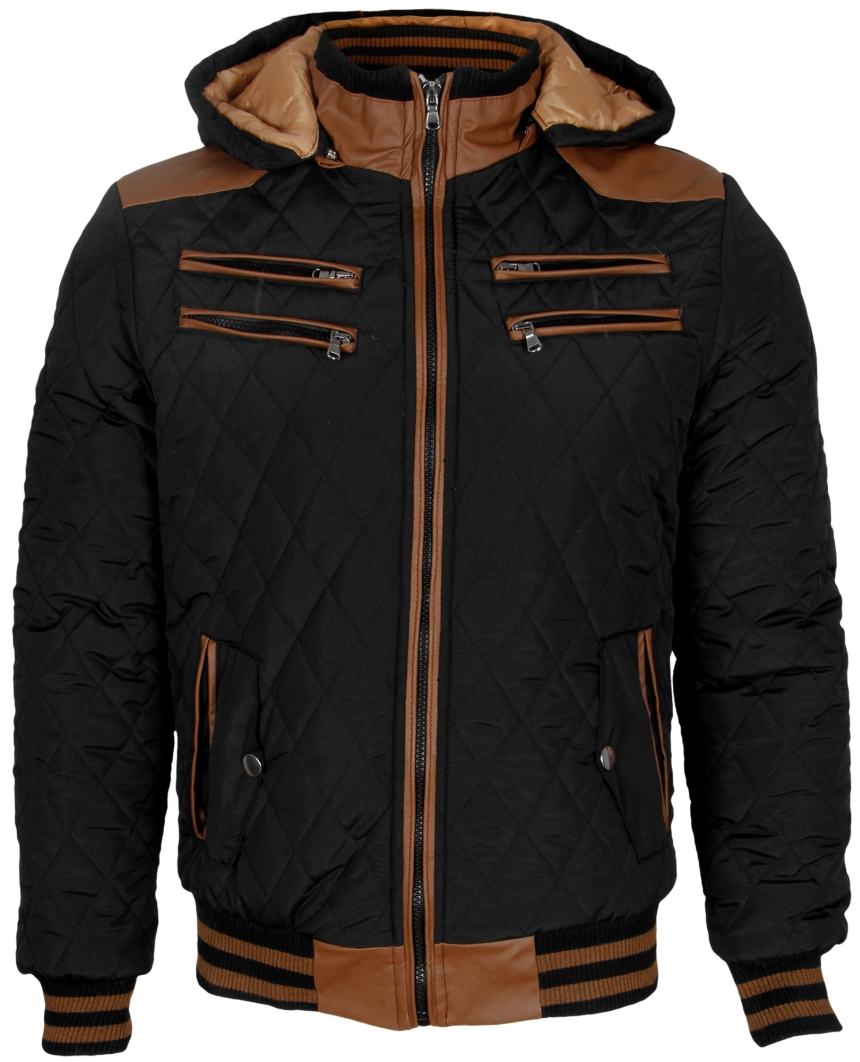 pascucci warme herren stepp jacke winterjacke mit lederapplikationen jacket blk ebay. Black Bedroom Furniture Sets. Home Design Ideas