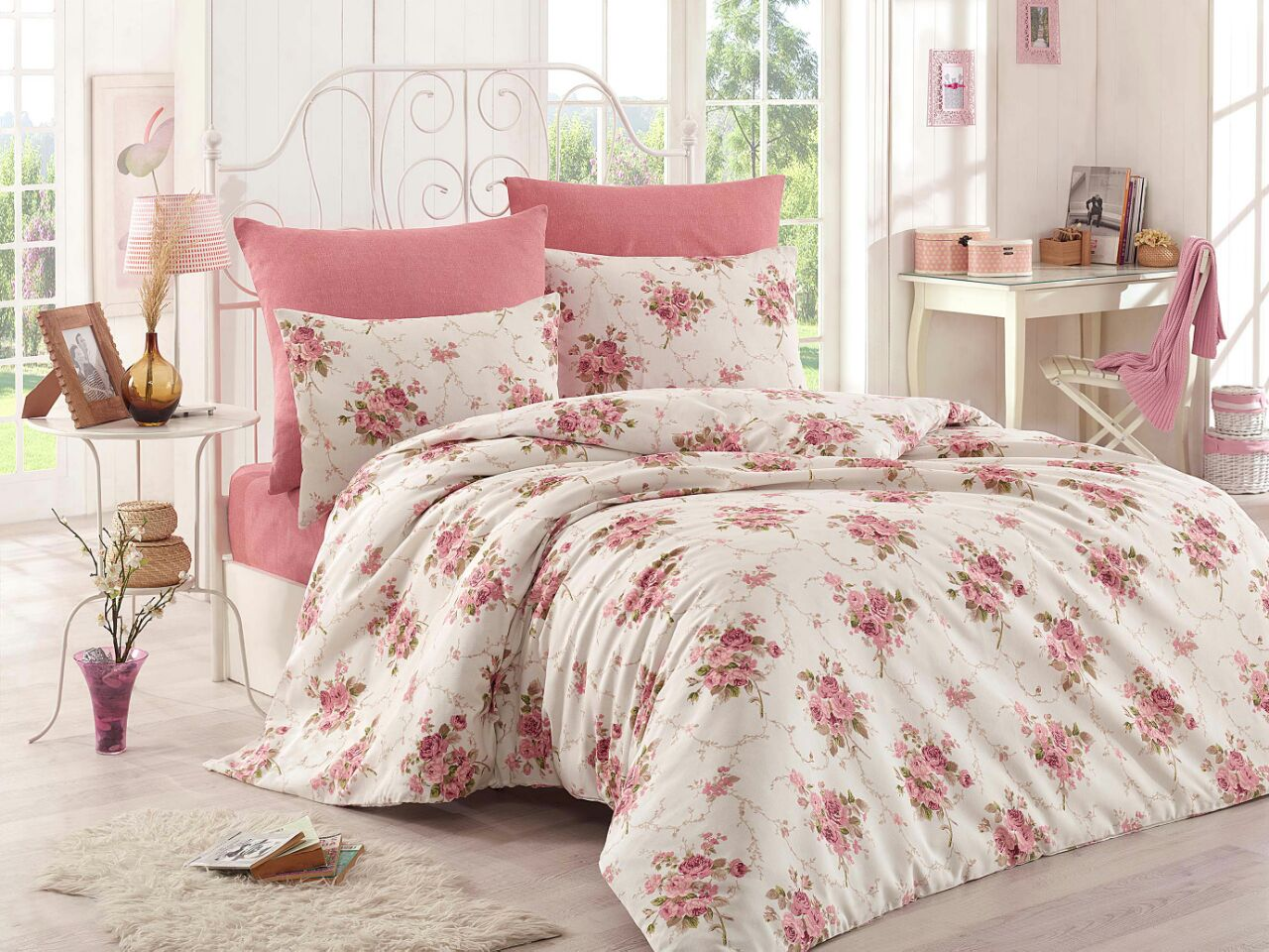 tlg bettw sche bettgarnitur 135 x 200 200 x 220 model rosen pink. Black Bedroom Furniture Sets. Home Design Ideas