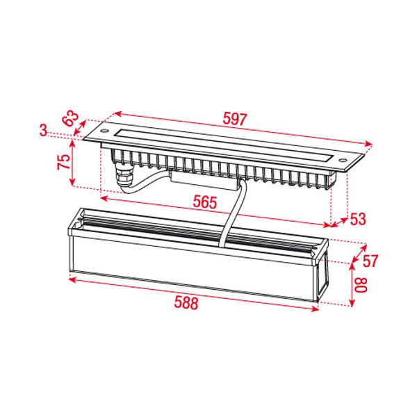 led wand einbau leuchte strahler 60cm ip65 outdoor 230v edelstahl licht leiste. Black Bedroom Furniture Sets. Home Design Ideas