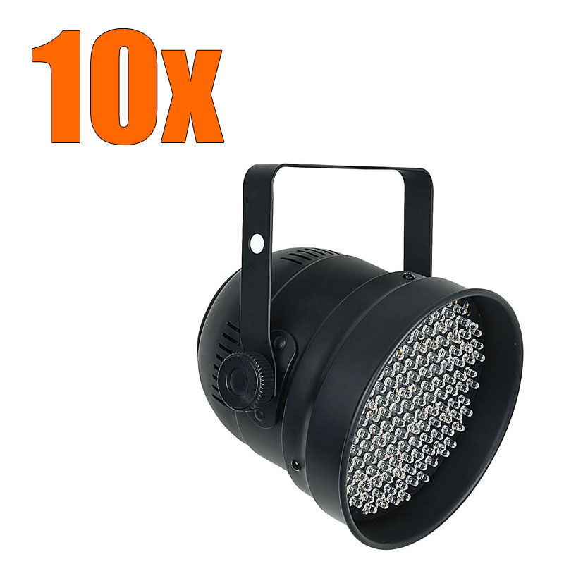 10x showtec led par 56 scheinwerfer rgb dmx lichteffekt disco licht party dj set ebay. Black Bedroom Furniture Sets. Home Design Ideas