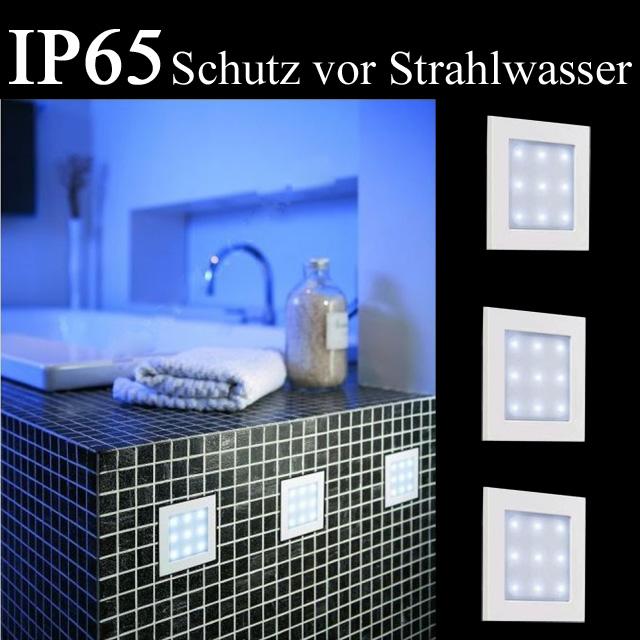 3er Set LED Einbaulampen Badezimmer Dusche Einbauleuchten IP65, weiß Quadrat  eBay