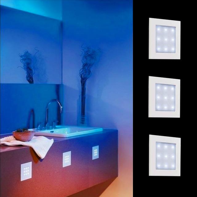 3er set led einbaulampen badezimmer dusche einbauleuchten ip65 wei quadrat ebay. Black Bedroom Furniture Sets. Home Design Ideas