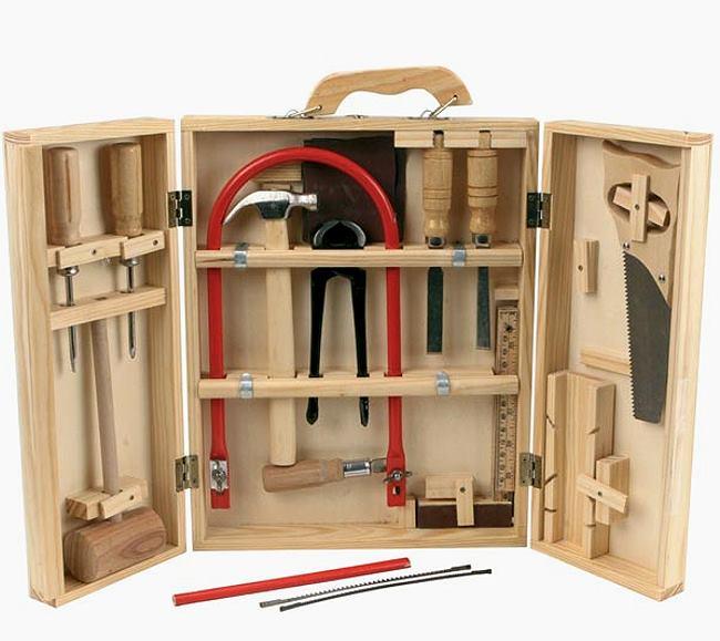 werkzeug kinder holz werkzeugkasten tischler baukasten. Black Bedroom Furniture Sets. Home Design Ideas