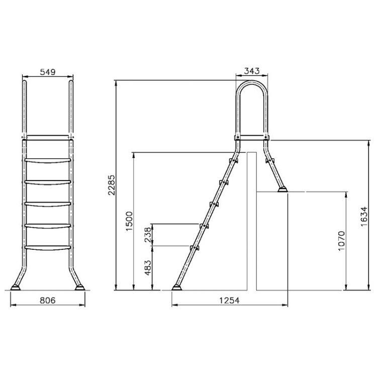 poolleiter edelstahl v2a f r teilversenkte becken bis 1 50. Black Bedroom Furniture Sets. Home Design Ideas