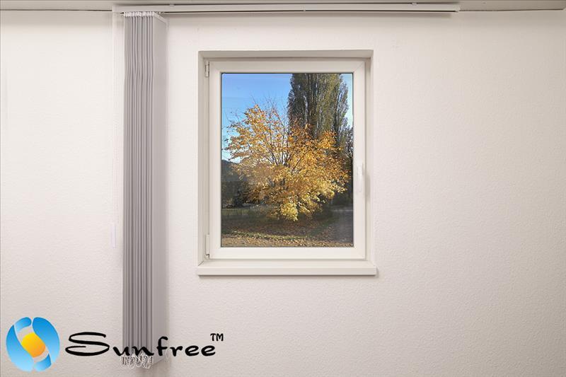 sunfree vertikal lamellen vorhang 150 x 250 cm bxh grau einfarbig ebay. Black Bedroom Furniture Sets. Home Design Ideas