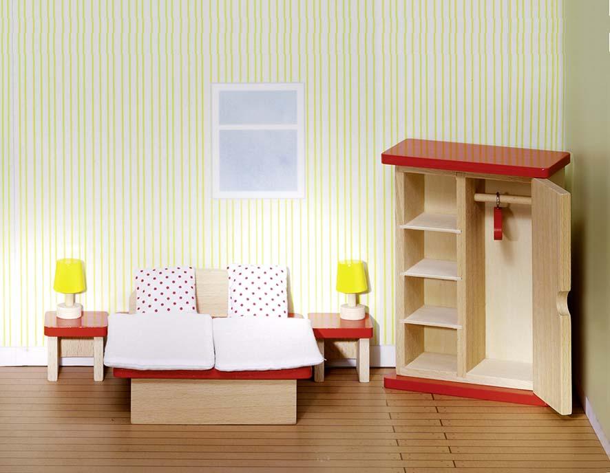Muebles para casa de muñecas, cocina, cama, sala Madera muebles para