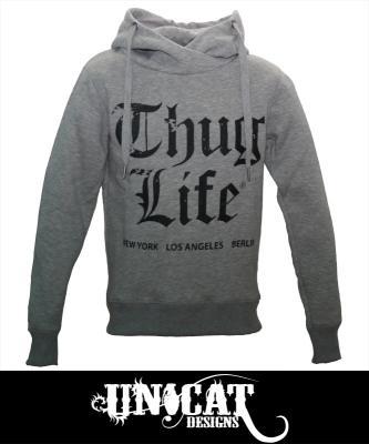 thug life logo hoody sweater hoodie grau tls13hd01 305. Black Bedroom Furniture Sets. Home Design Ideas