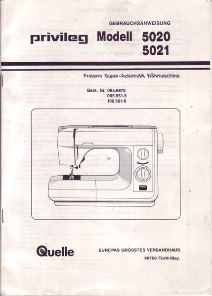 Quelle Privileg Modell 5020 5021  Gebrauchsanweisung für  ~ Nähmaschine Quelle Privileg