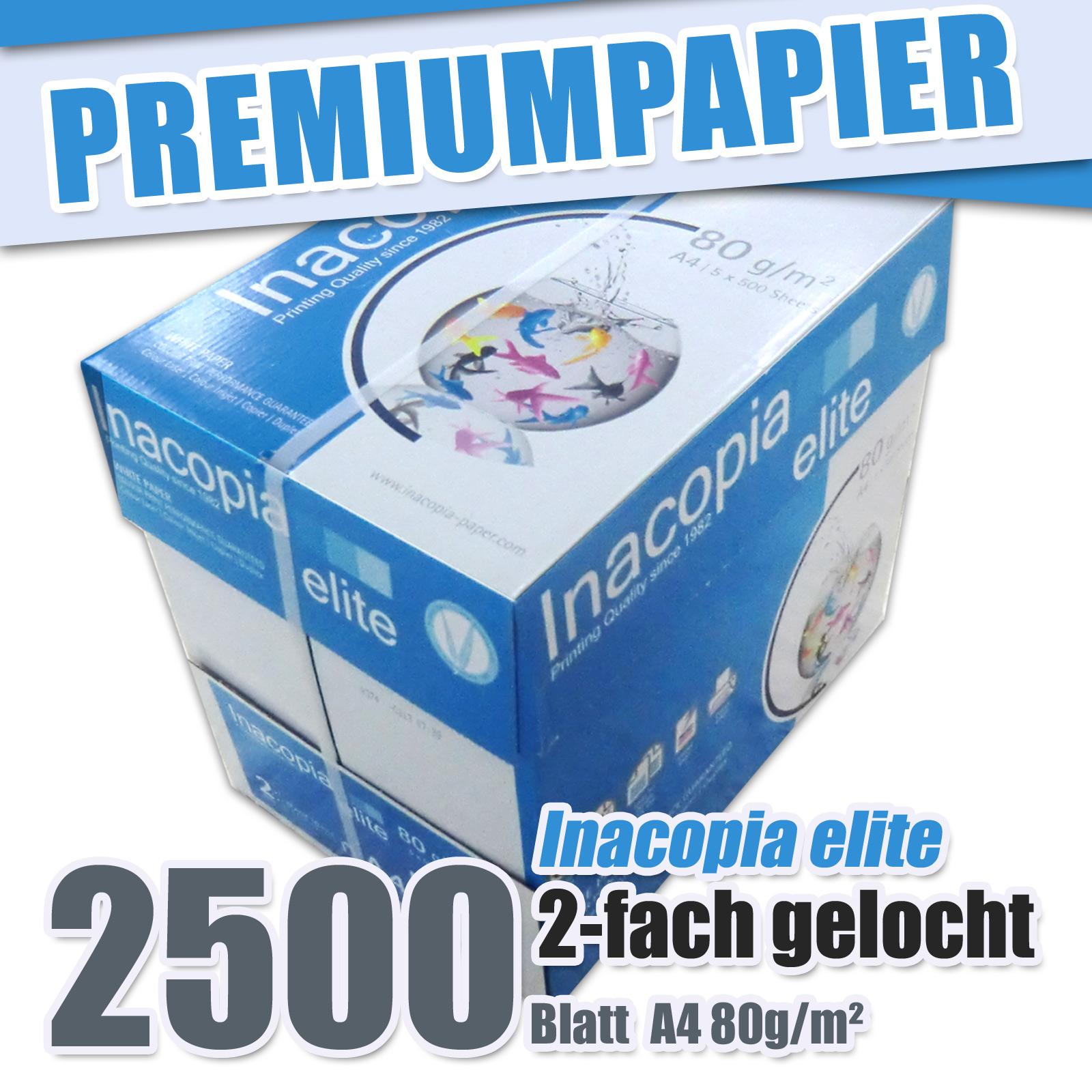 2500 blatt gelocht inacopia elite 80g m a4 kopierpapier premium hp laser papier ebay. Black Bedroom Furniture Sets. Home Design Ideas