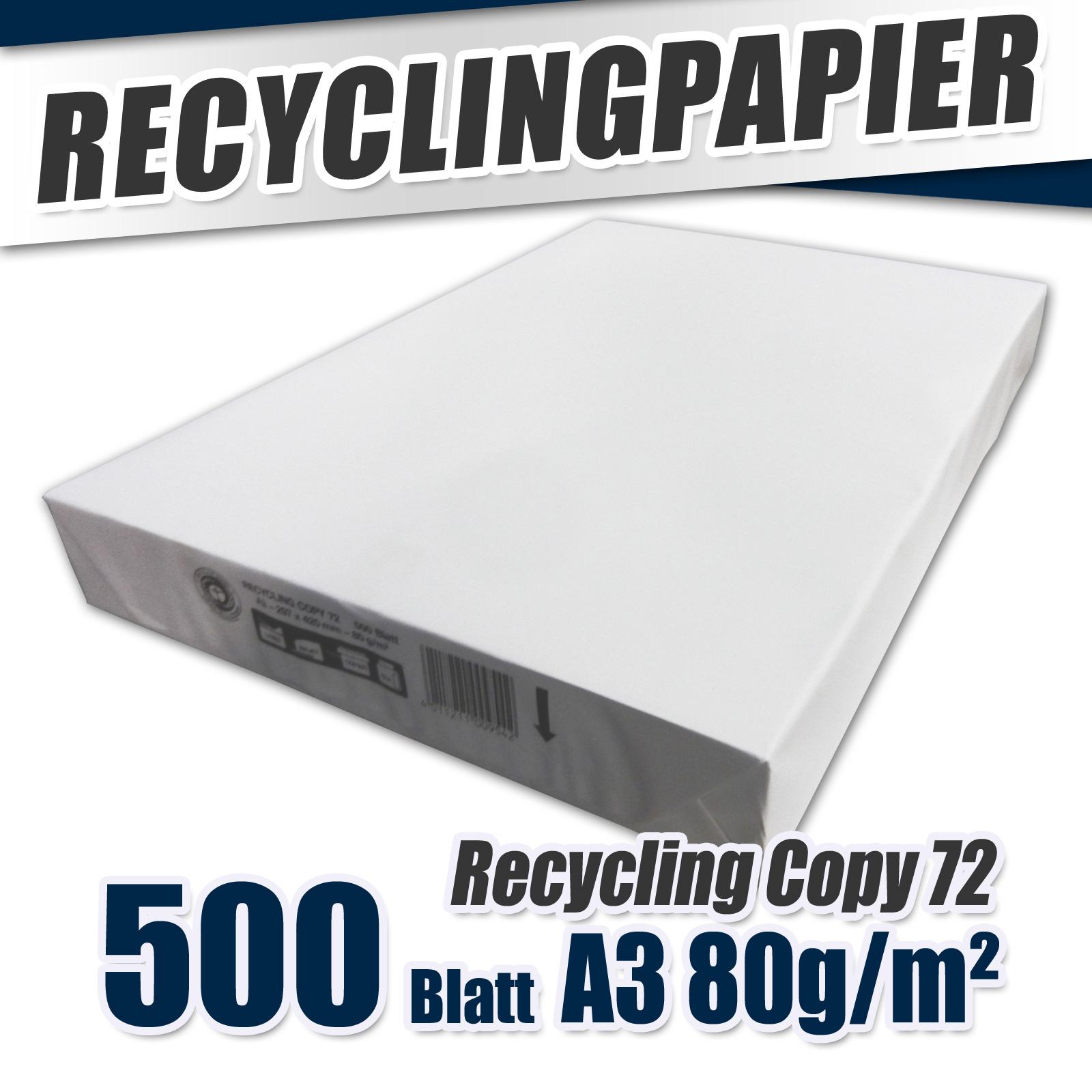 500 x recycling kopierpapier a3 80g m laser drucker papier. Black Bedroom Furniture Sets. Home Design Ideas