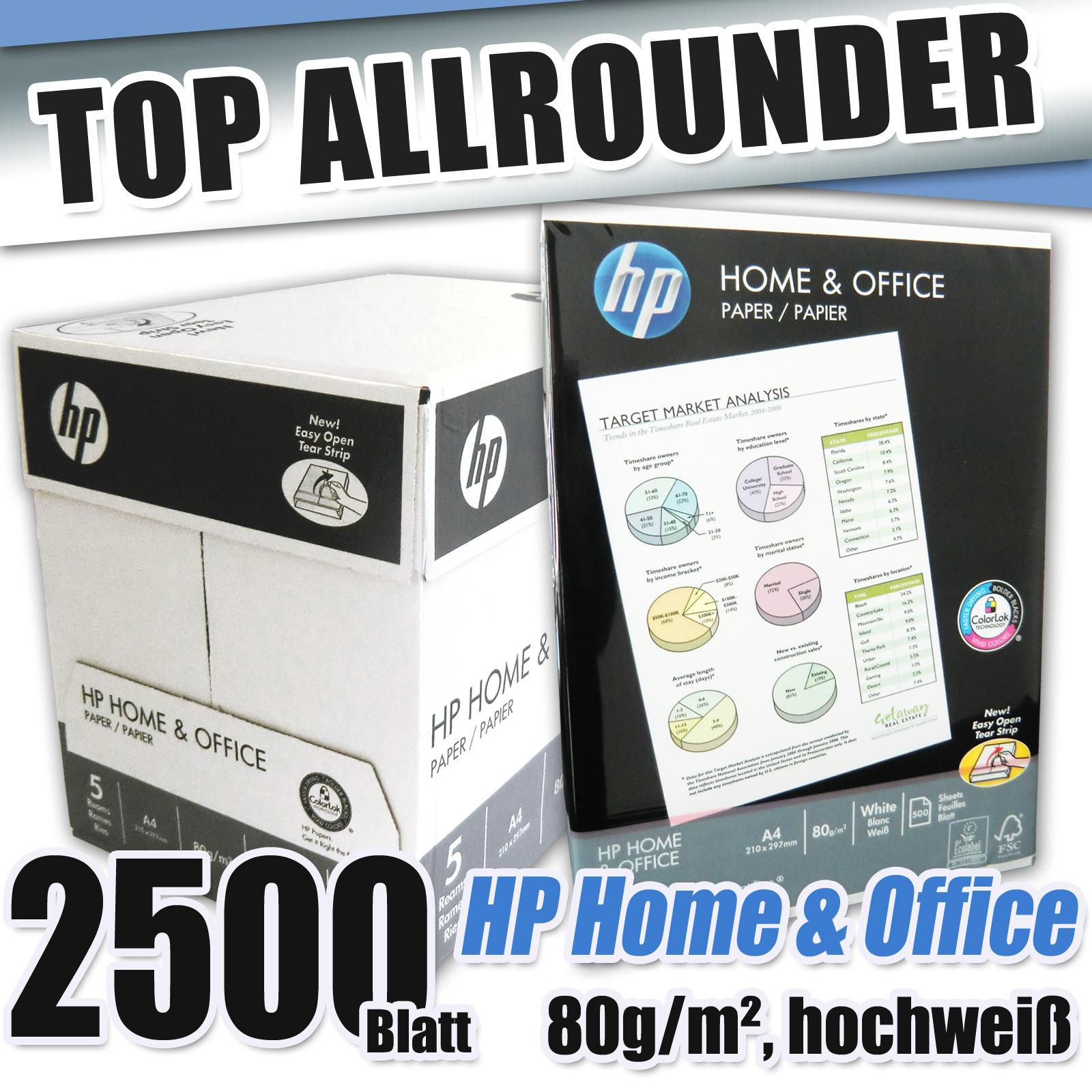 2500 blatt marke hp home office weiss 80 kopierpapier a4 druckerpapier fax toner ebay. Black Bedroom Furniture Sets. Home Design Ideas