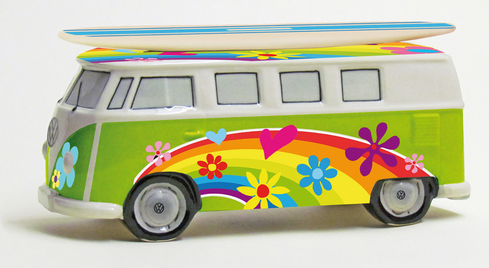 vw surf bulli t1 spardose flower gr n vw bus lizensiert. Black Bedroom Furniture Sets. Home Design Ideas
