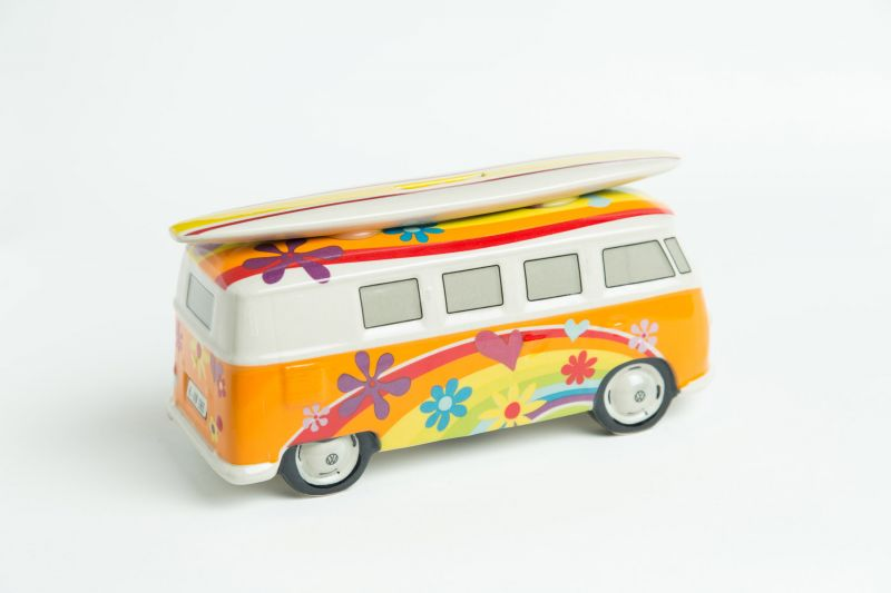 vw surf bulli t1 spardose flower orange vw bus lizensiert. Black Bedroom Furniture Sets. Home Design Ideas