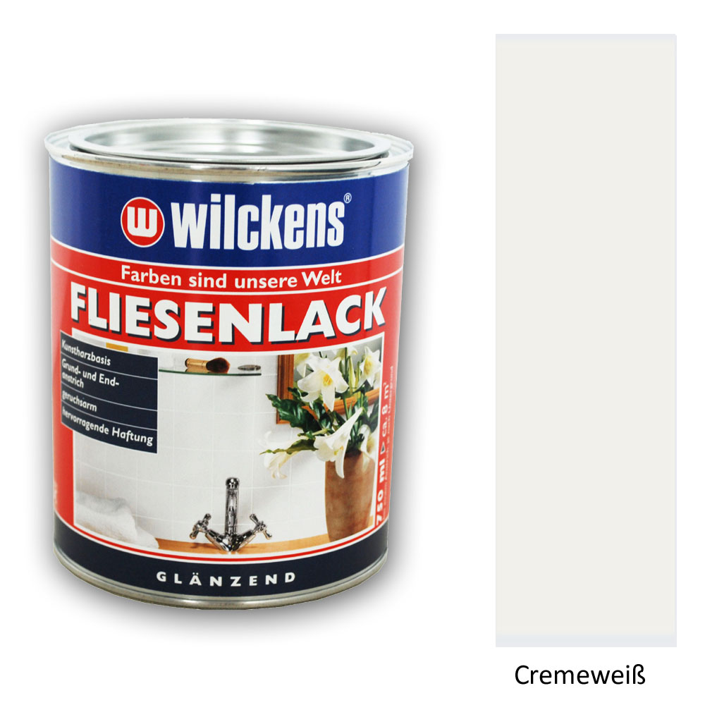 wilckens fliesenlack fliesenfarbe cremewei gl nzend 750ml ebay. Black Bedroom Furniture Sets. Home Design Ideas
