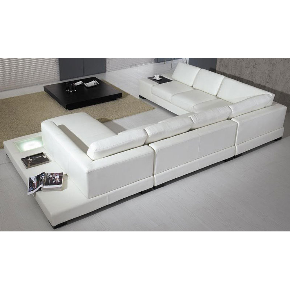 luxus design wohnlandschaft ledersofa couch leder sofa garnitur beige weiss ebay. Black Bedroom Furniture Sets. Home Design Ideas