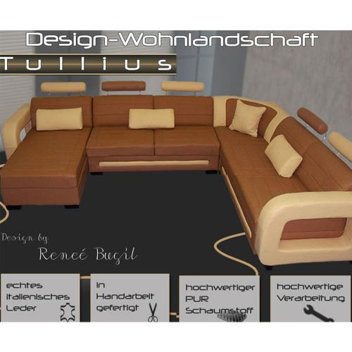 luxus wohnlandschaft ledersofa leder sofa garnitur couch braun beige ebay. Black Bedroom Furniture Sets. Home Design Ideas