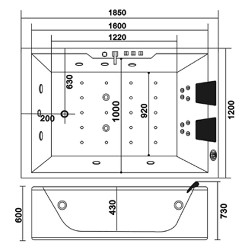 whirlpool rechteck badewanne wanne pool spa bad indoor 2. Black Bedroom Furniture Sets. Home Design Ideas