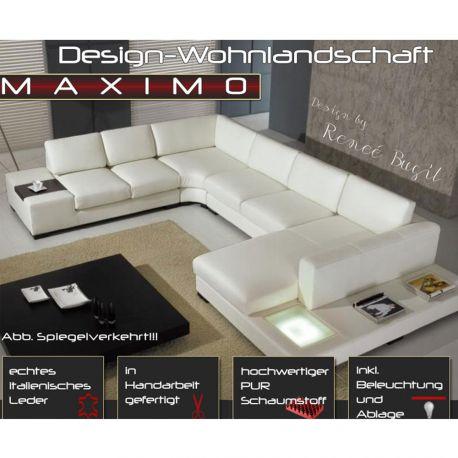 luxus design wohnlandschaft ledersofa couch leder sofa garnitur beige weiss ebay. Black Bedroom Furniture Sets. Home Design Ideas